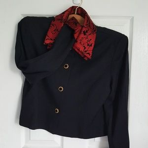 Jessica Howard Red and Black Button Up Blazer